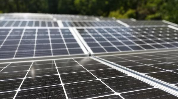 Solar panels on the roof of the Stuart Center.