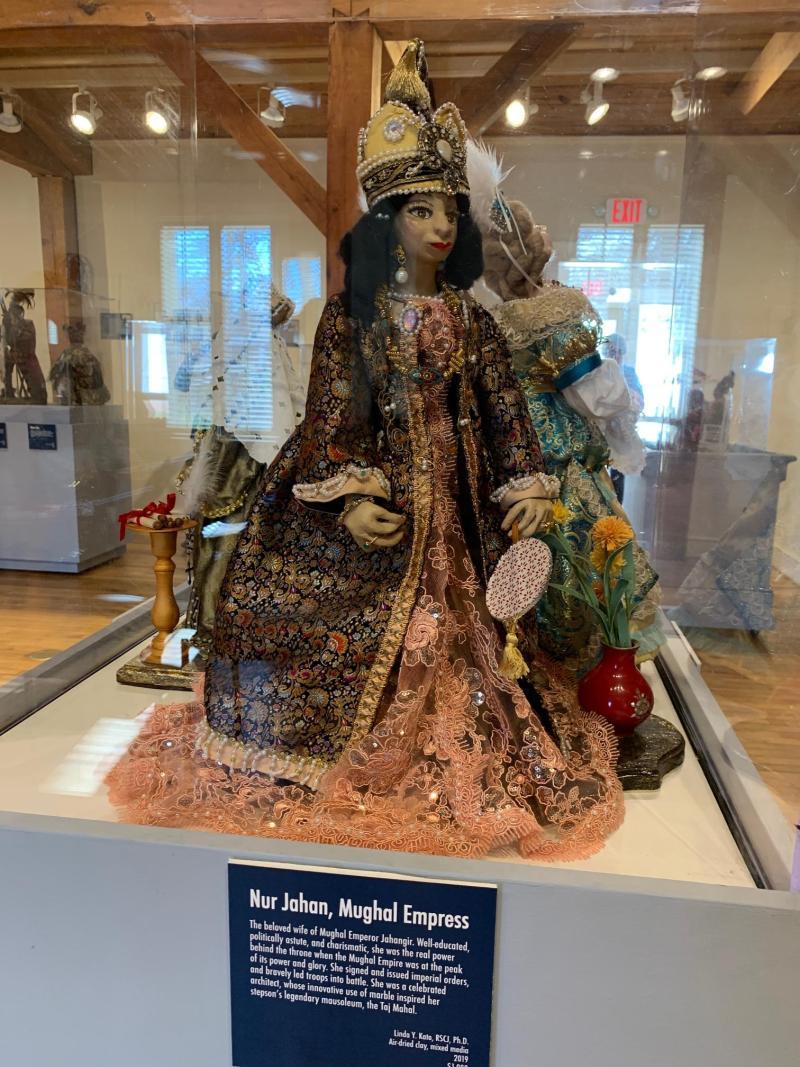 """Linda Kato's """"Mughal Empress Nur Jahan"""" in case."""