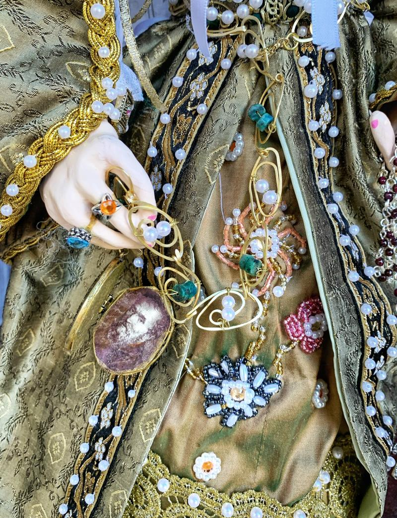"Linda Kato's ""Vittoria Colonna"" closeup of handmade jewelry and bead embroidery"