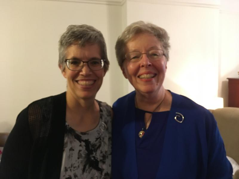 Ruth Cunnings, NSCJ (left), with Provincial Sheila Hammond, RSCJ (right)