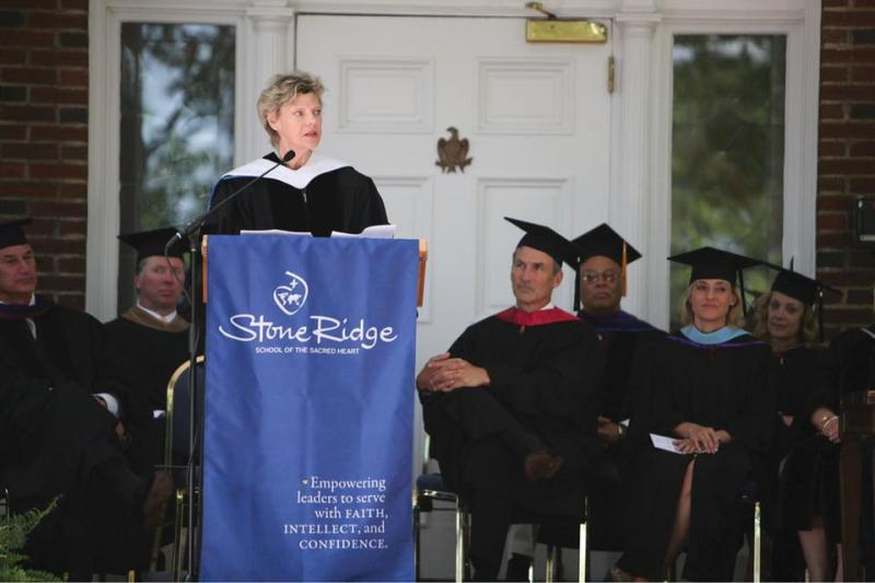 Cokie Roberts giving the commencement address at her alma mater Stone Ridge School of the Sacred Heart in Bethesda, Maryland
