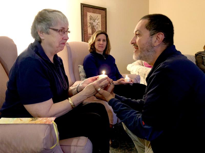 A moment of deep sharing during our 2018 November gathering of the USC Associate Leadership Team. L-R: Peggy Gorman, Angela Lagrange Scott, Sergio Vasquez