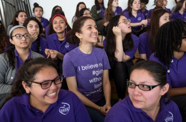 young woman student, Josephinum assembly, smiling, girls with no limits