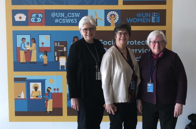(From left to right) Bridget Bearss, RSCJ; Sheila Smith, RSCJ; Anne-Marie Conn, RSCJ