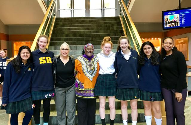 Left to right: Hannah Joseph ('19); Ele Grenfell ('19); Miss Paula Macchello; Irma Dillard, RSCJ; Claire Nickerson ('21); Kayla Kinkaid ('20); Sofia Morra ('21); and Miss Lauren Brownlee. The students are members of the Social Action Student Advisory Board.