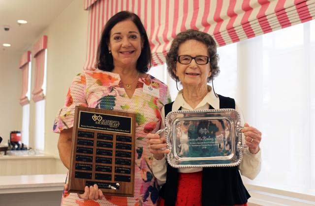 Sister McKinlay receives the St. Madeline Sophie Barat Award from Beth Talbot Dienes '79, Rosary Sacred Heart Alumnae Association President