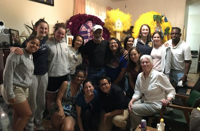 Duchesne House hosting a group from St. Ignatius San Francisco pictured here with Mardi Gras Indian chief David Montana