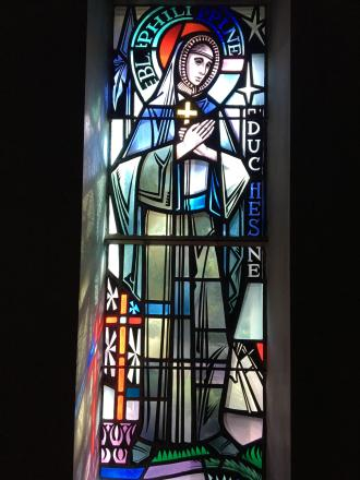 Philippine stained glass window in Mary Queen of Angels Cathedral in Baltimore, Maryland