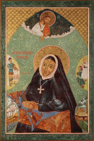 Icon of Philippine at prayer by Kyoko Fuller located at Duchesne Academy in Omaha, Nebraska