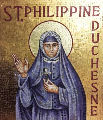 Philippine mosaic in the lobby of Cardinal Rigali Center, Shrewsbury, Mo.