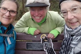 Ann, Catherine and Margaret at the bench dedicated to the Philippine Pilgrims, 2018